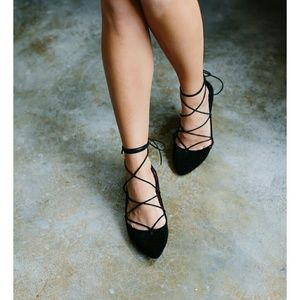Shoes - Black Faux Suede Lace-Up Pointed Toe Flats